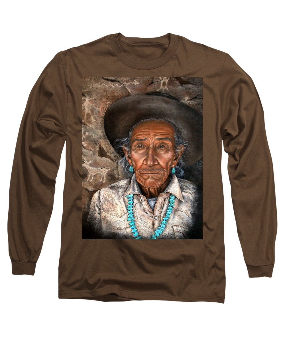 People Long Sleeve T-Shirt featuring the painting Vision Of The Past by Deb Owens-Lowe