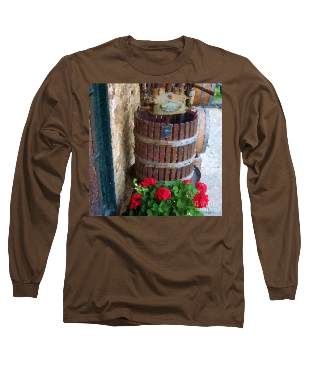 Geraniums Long Sleeve T-Shirt featuring the photograph Wine And Geraniums by Debbi Granruth