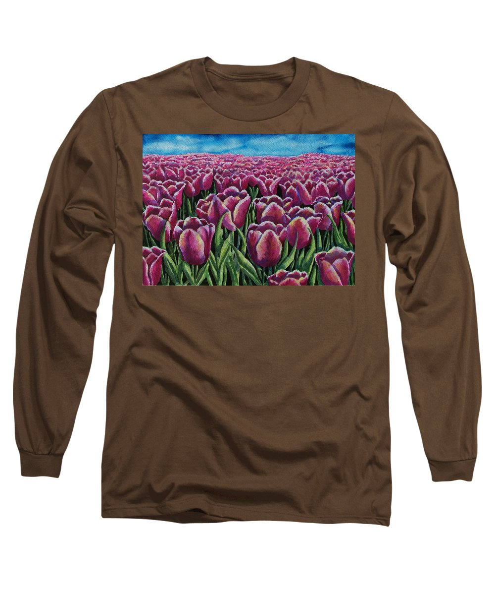 Tulips Long Sleeve T-Shirt featuring the painting 1000 Tulpis by Conni Reinecke