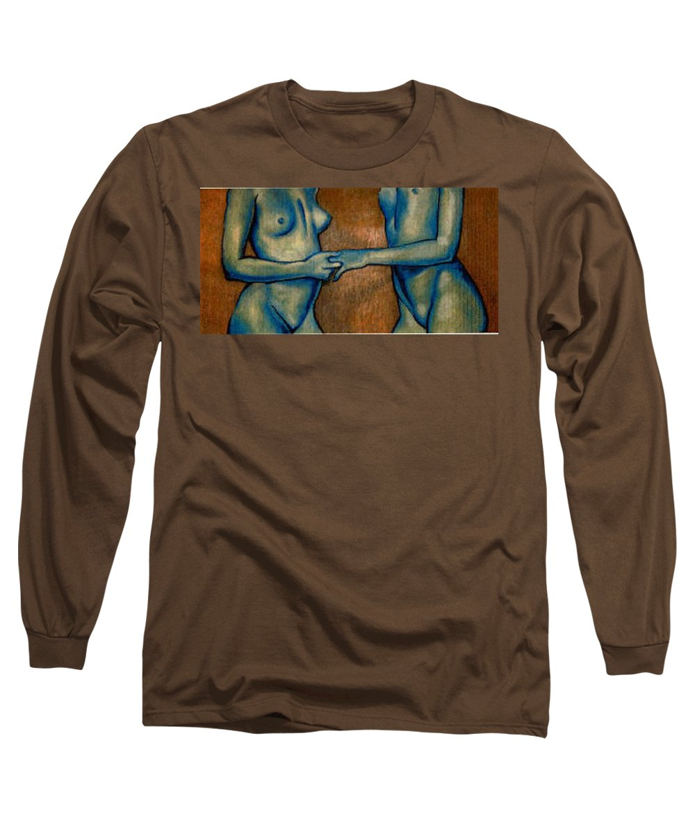 Nudes Long Sleeve T-Shirt featuring the painting Friends by Thomas Valentine