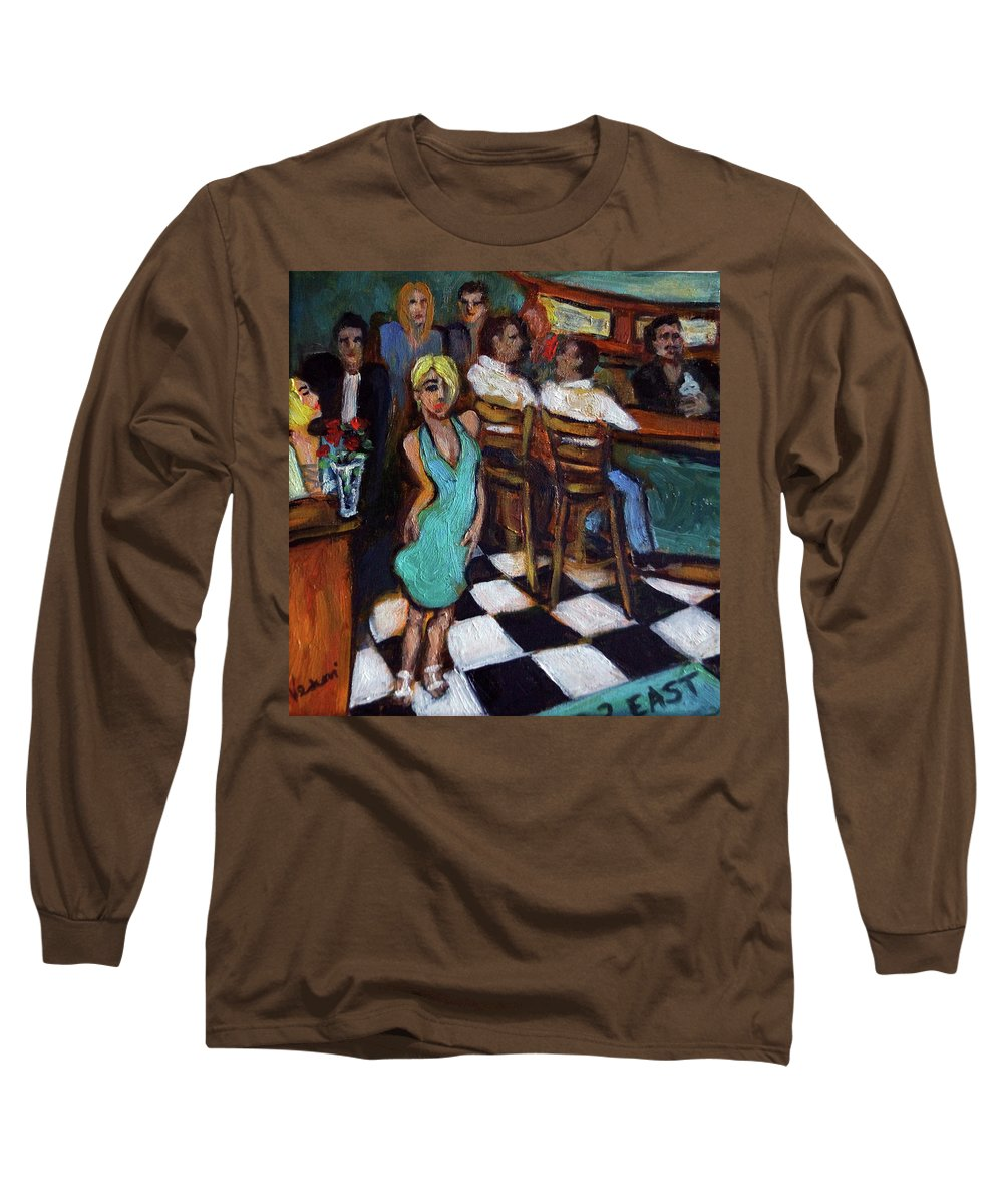 Restaurant Long Sleeve T-Shirt featuring the painting 32 East by Valerie Vescovi