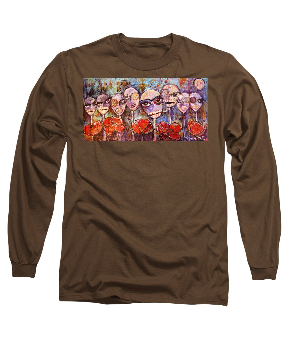 Dia De Los Muertos Long Sleeve T-Shirt featuring the painting 5 Poppies For The Dead by Laurie Maves ART