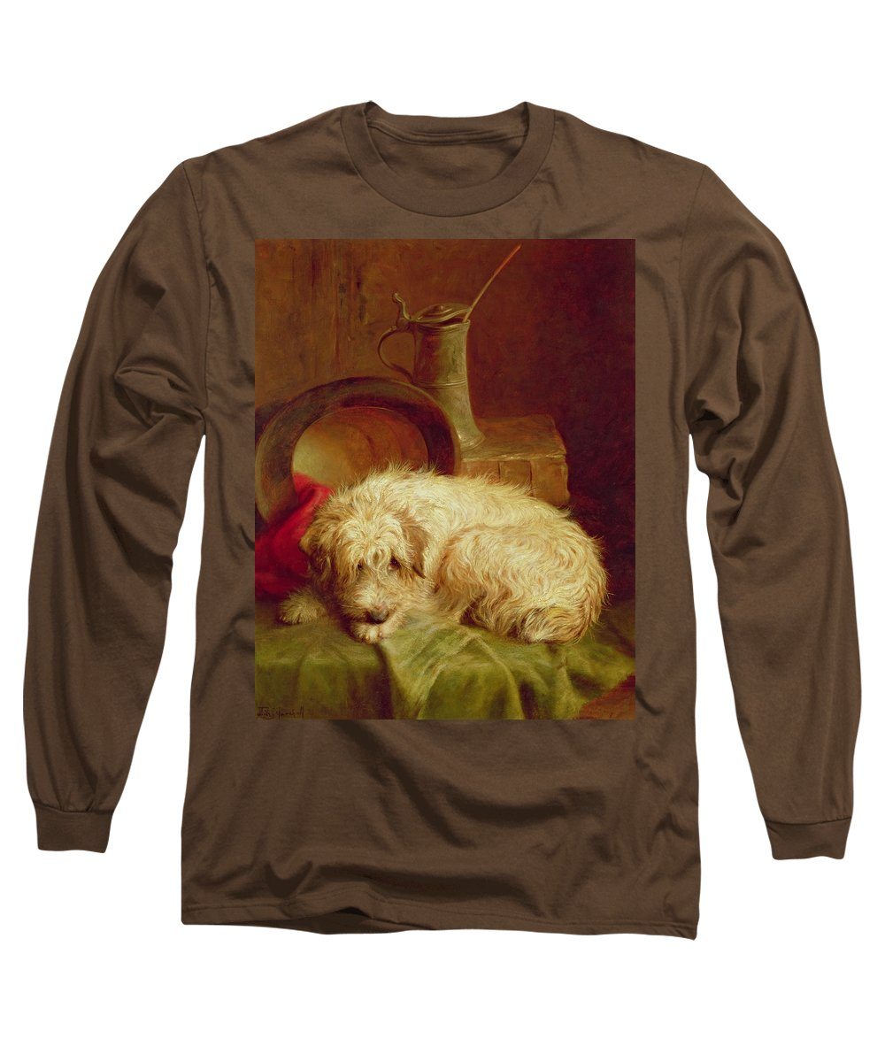 Terrier Long Sleeve T-Shirt featuring the painting A Terrier by John Fitz Marshall