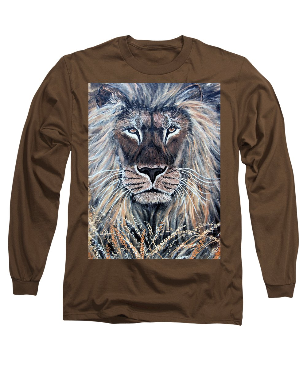 Lion Long Sleeve T-Shirt featuring the painting African Lion by Nick Gustafson