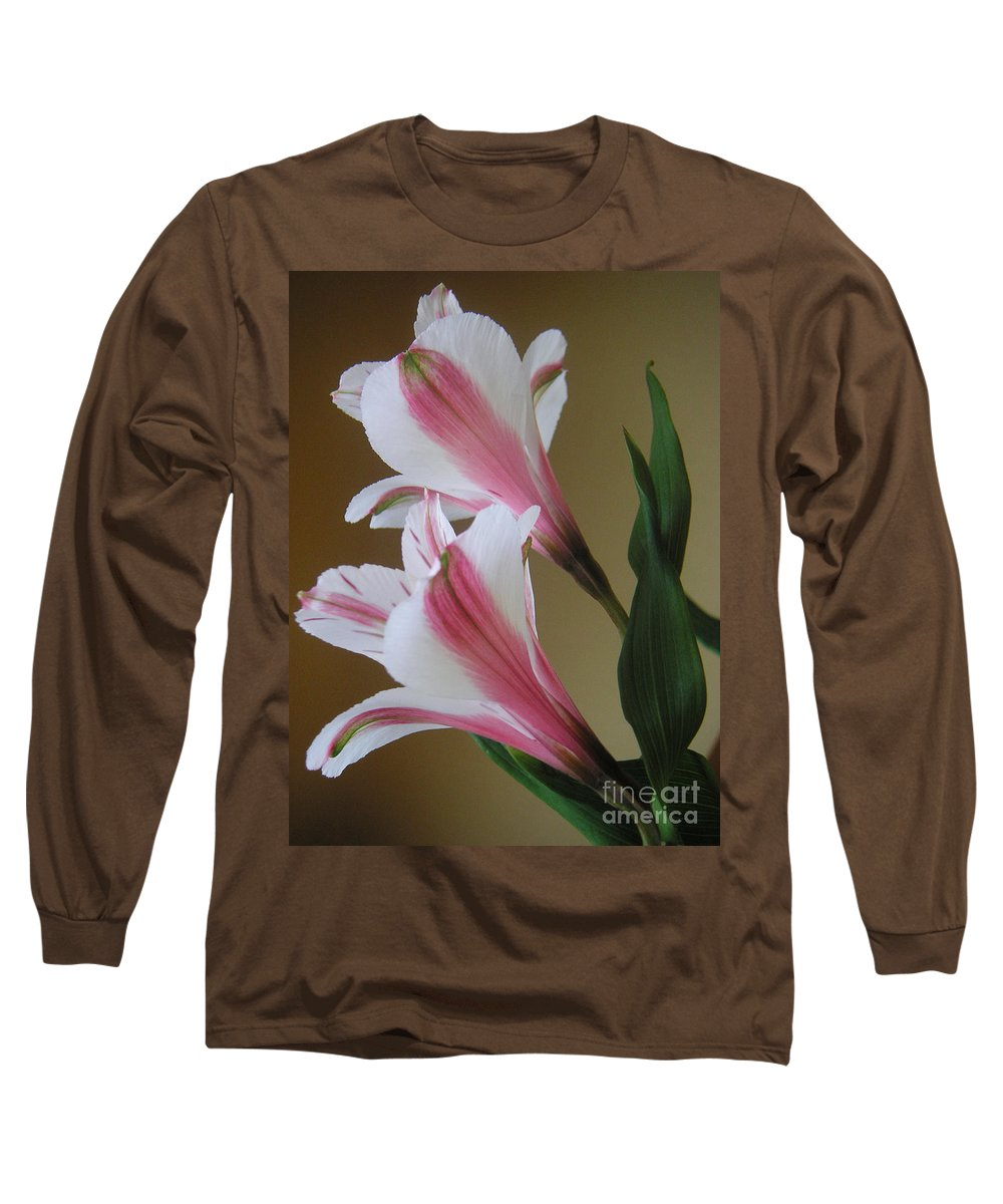 Nature Long Sleeve T-Shirt featuring the photograph Alstroemerias - Doubled by Lucyna A M Green