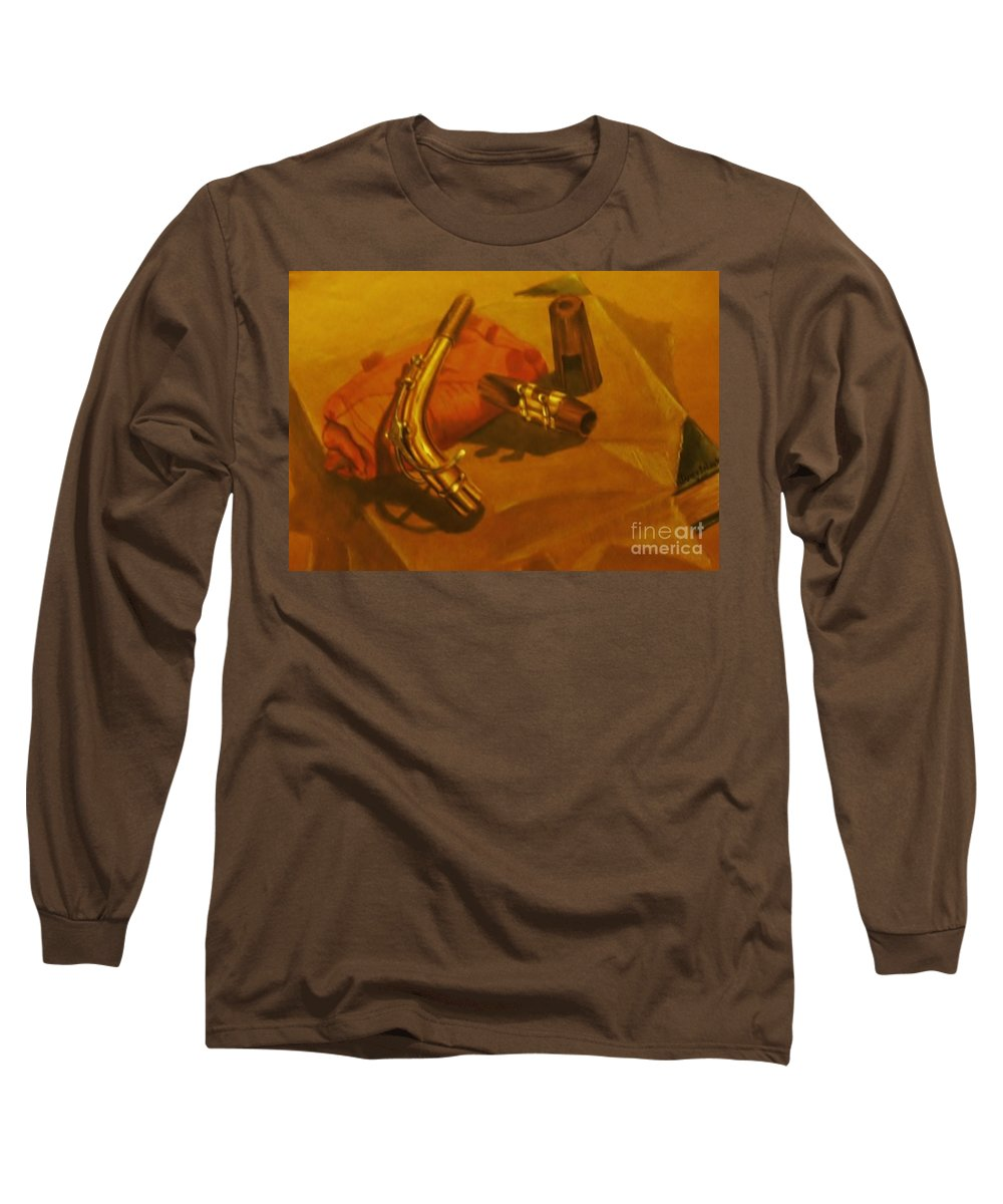 Still Life Long Sleeve T-Shirt featuring the drawing Alto Saxophone Neck And Mouthpiece by Jamey Balester