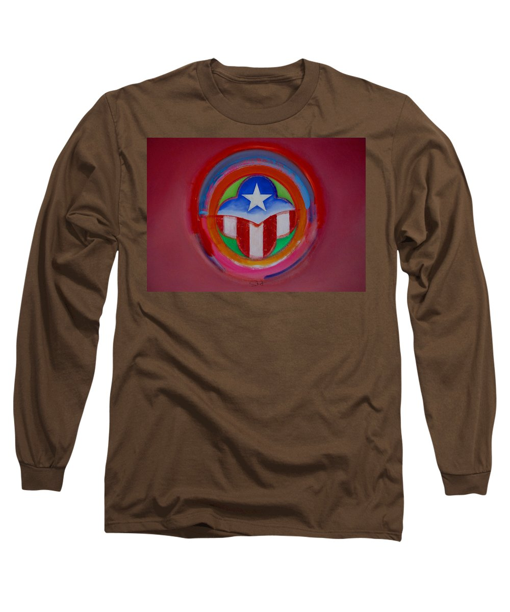 Button Long Sleeve T-Shirt featuring the painting American Star Button by Charles Stuart
