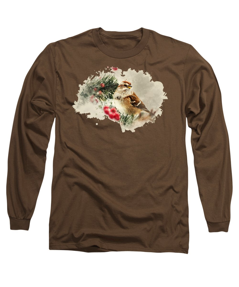 Bird Long Sleeve T-Shirt featuring the mixed media American Tree Sparrow Watercolor Art by Christina Rollo
