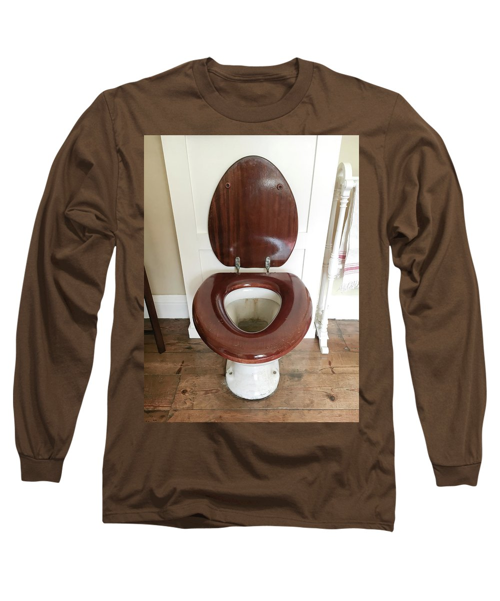 Antique Long Sleeve T-Shirt featuring the photograph An Old Toilet by Tom Gowanlock