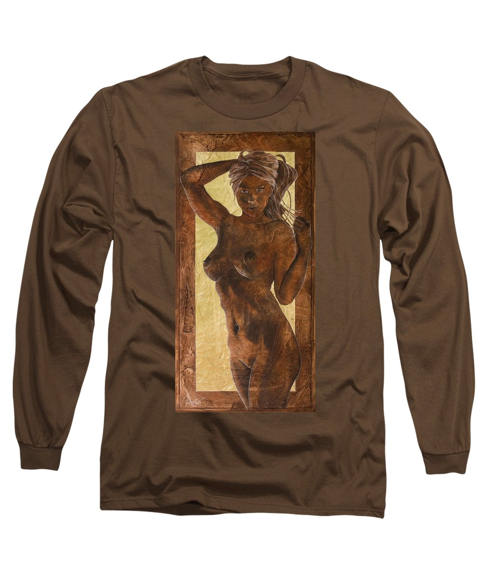 Nude Long Sleeve T-Shirt featuring the painting Angel In Gold by Richard Hoedl