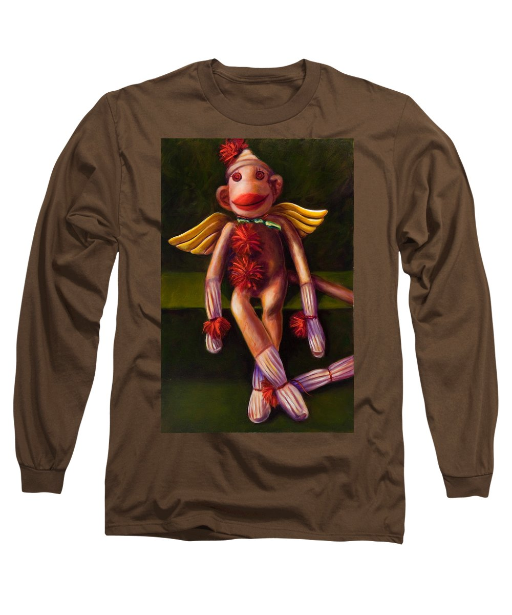 Sock Monkey Angel Long Sleeve T-Shirt featuring the painting Angel Made Of Sockies by Shannon Grissom