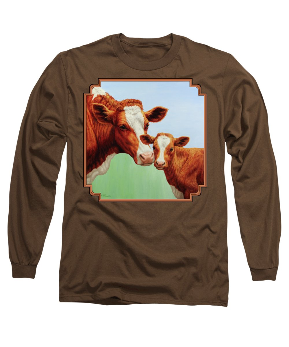 Cow Long Sleeve T-Shirt featuring the painting Cream And Sugar by Crista Forest