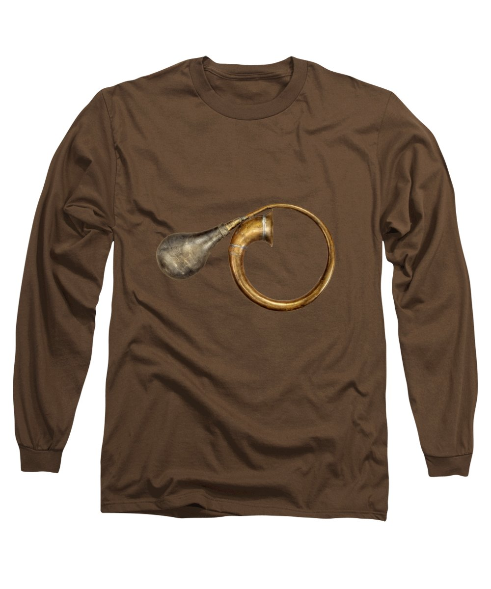 Antique Long Sleeve T-Shirt featuring the photograph Antique Brass Car Horn by YoPedro