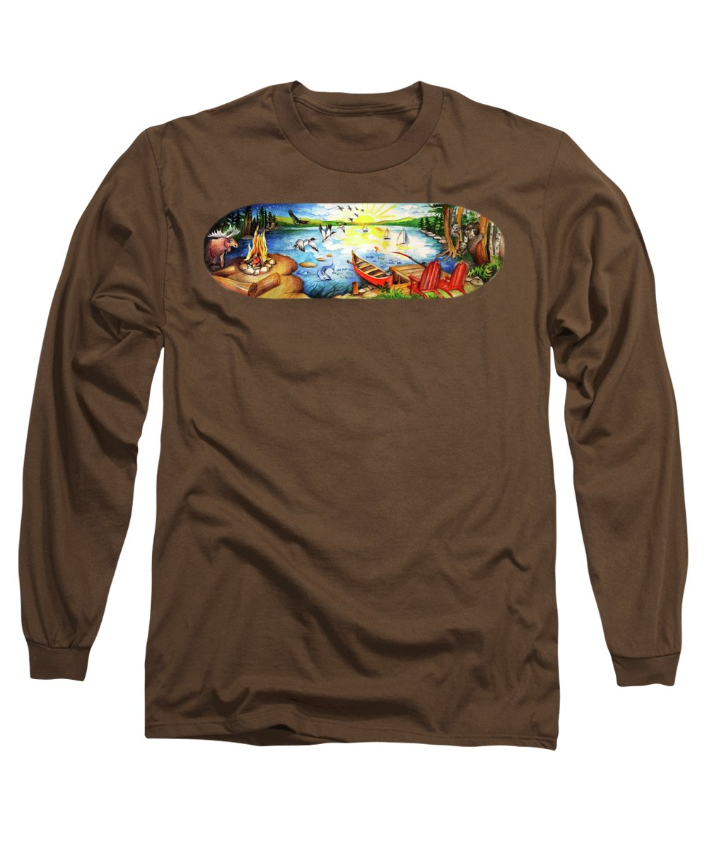 Adirondack Mountains Paintings Long Sleeve T-Shirts