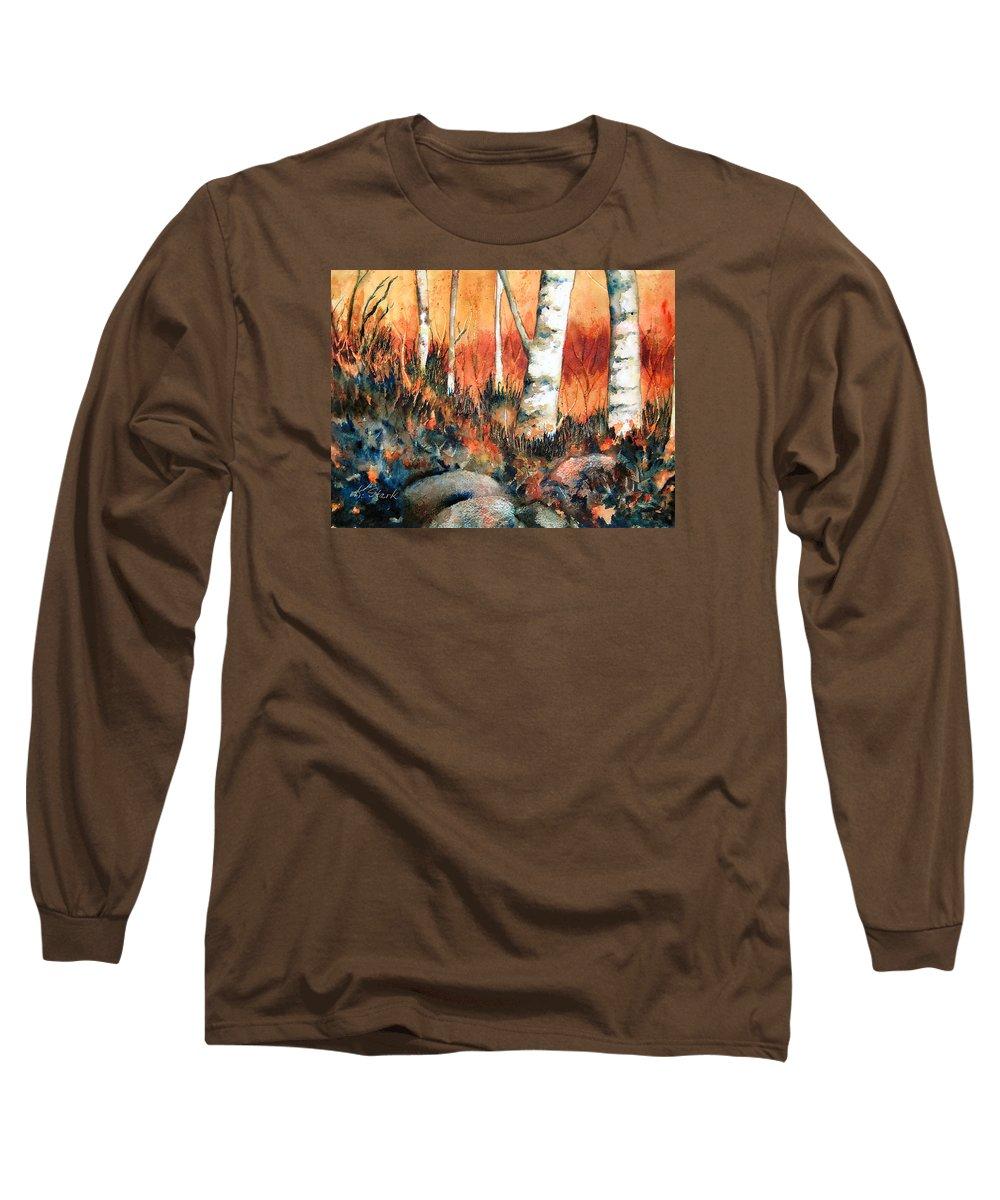 Landscape Long Sleeve T-Shirt featuring the painting Autumn by Karen Stark