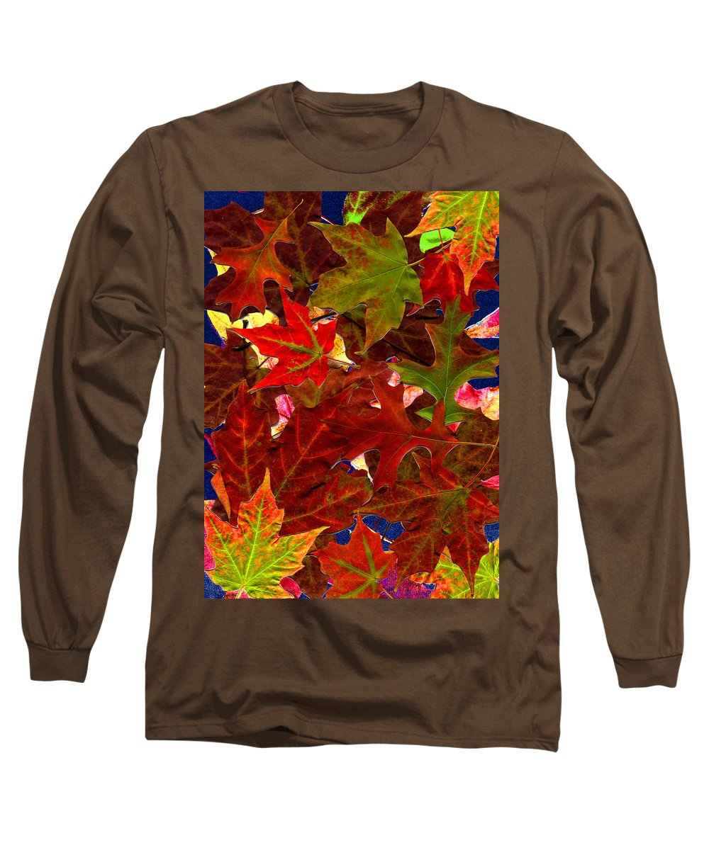 Collage Long Sleeve T-Shirt featuring the photograph Autumn Leaves by Nancy Mueller