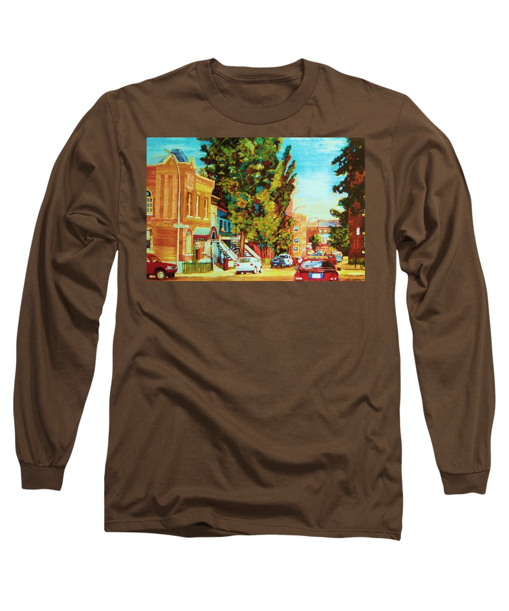 Bagg Street Synagogue Rue Bagg And Clark Long Sleeve T-Shirt featuring the painting Autumn On Bagg Street by Carole Spandau