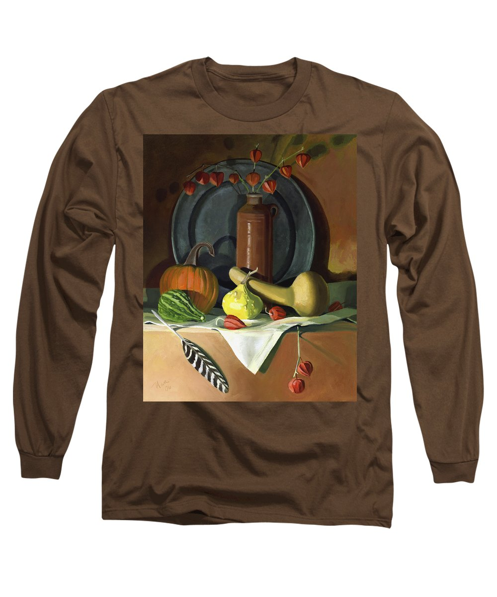Still Life Long Sleeve T-Shirt featuring the painting Autumn Still Life by Nancy Griswold