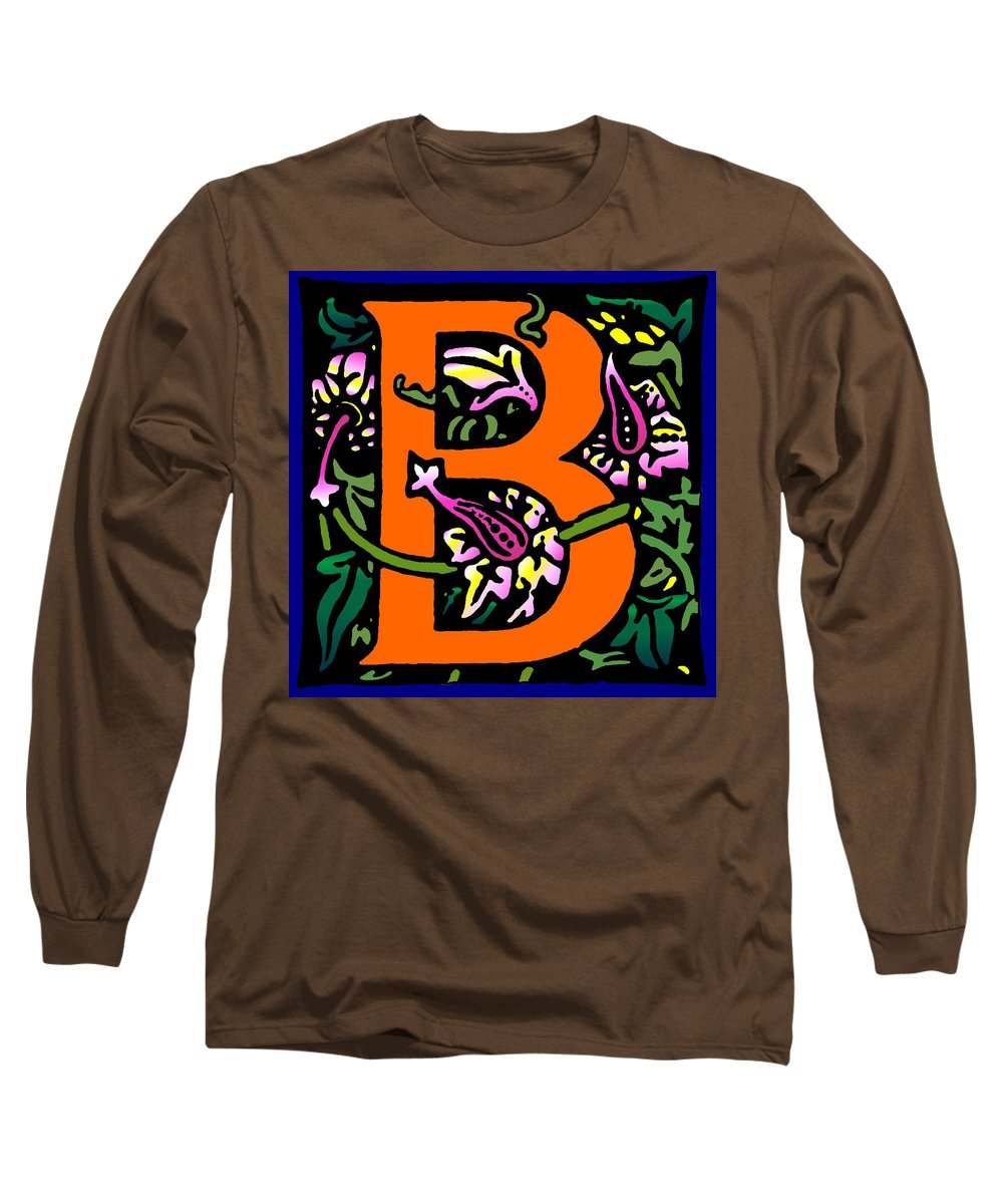 Alphabet Long Sleeve T-Shirt featuring the digital art B In Orange by Kathleen Sepulveda