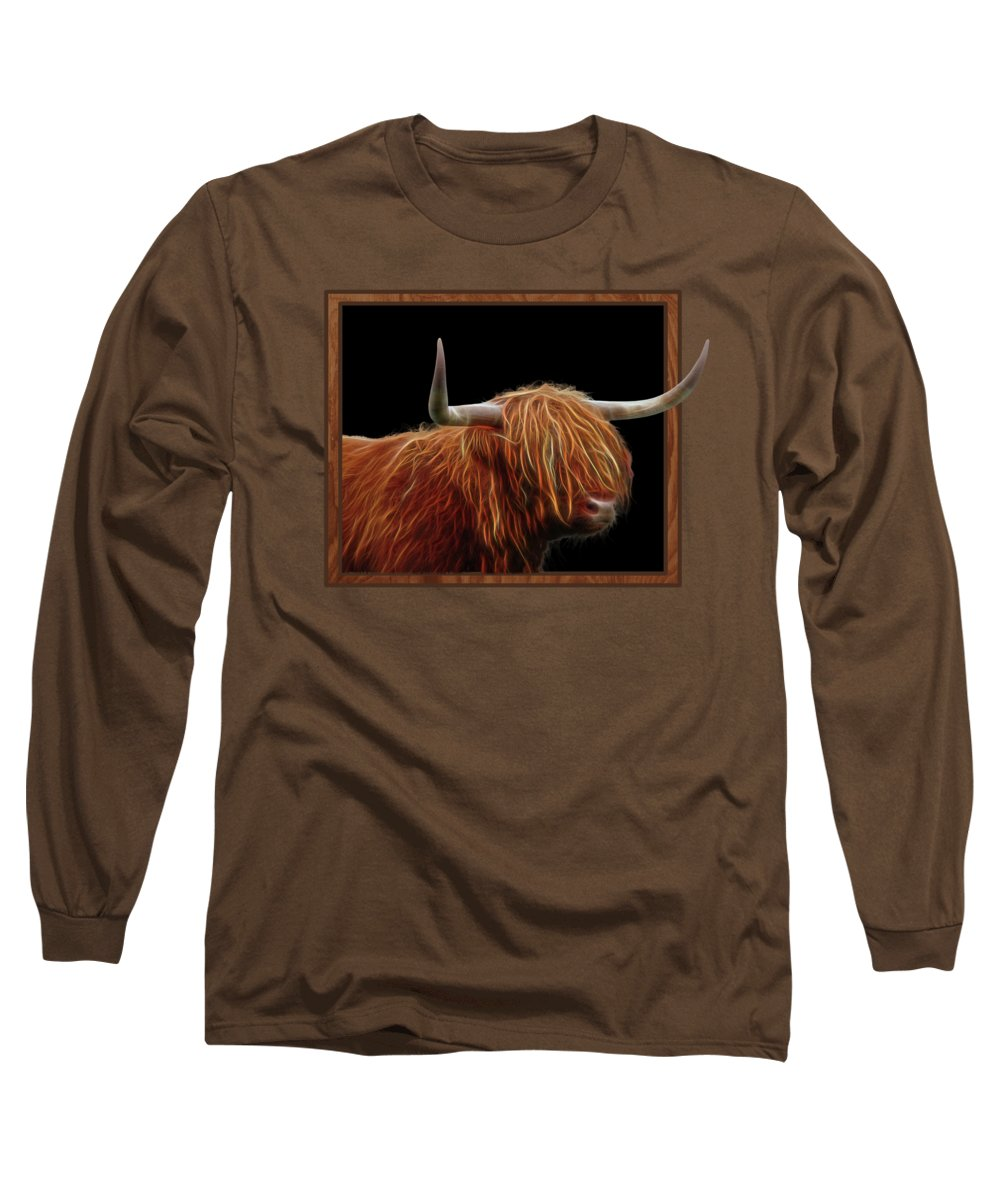Highland Cow Long Sleeve T-Shirt featuring the photograph Bad Hair Day - Highland Cow - On Black by Gill Billington