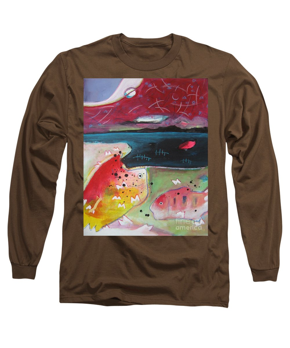 Acrylic Paintings Long Sleeve T-Shirt featuring the painting Baieverte by Seon-Jeong Kim