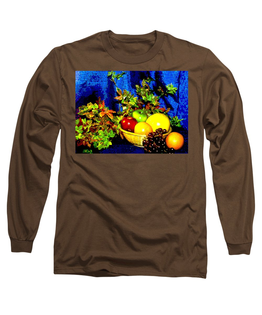 Fruit Long Sleeve T-Shirt featuring the photograph Basket With Fruit by Nancy Mueller
