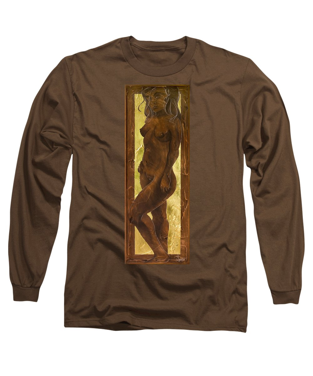 Nude Long Sleeve T-Shirt featuring the painting Basking In The Glow by Richard Hoedl