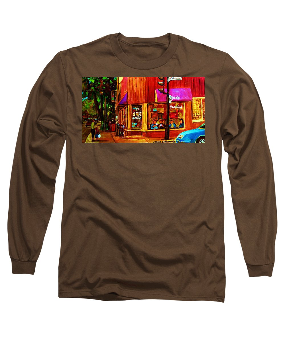 Beautys Restaurant Montreal Long Sleeve T-Shirt featuring the painting Beautys Luncheonette by Carole Spandau