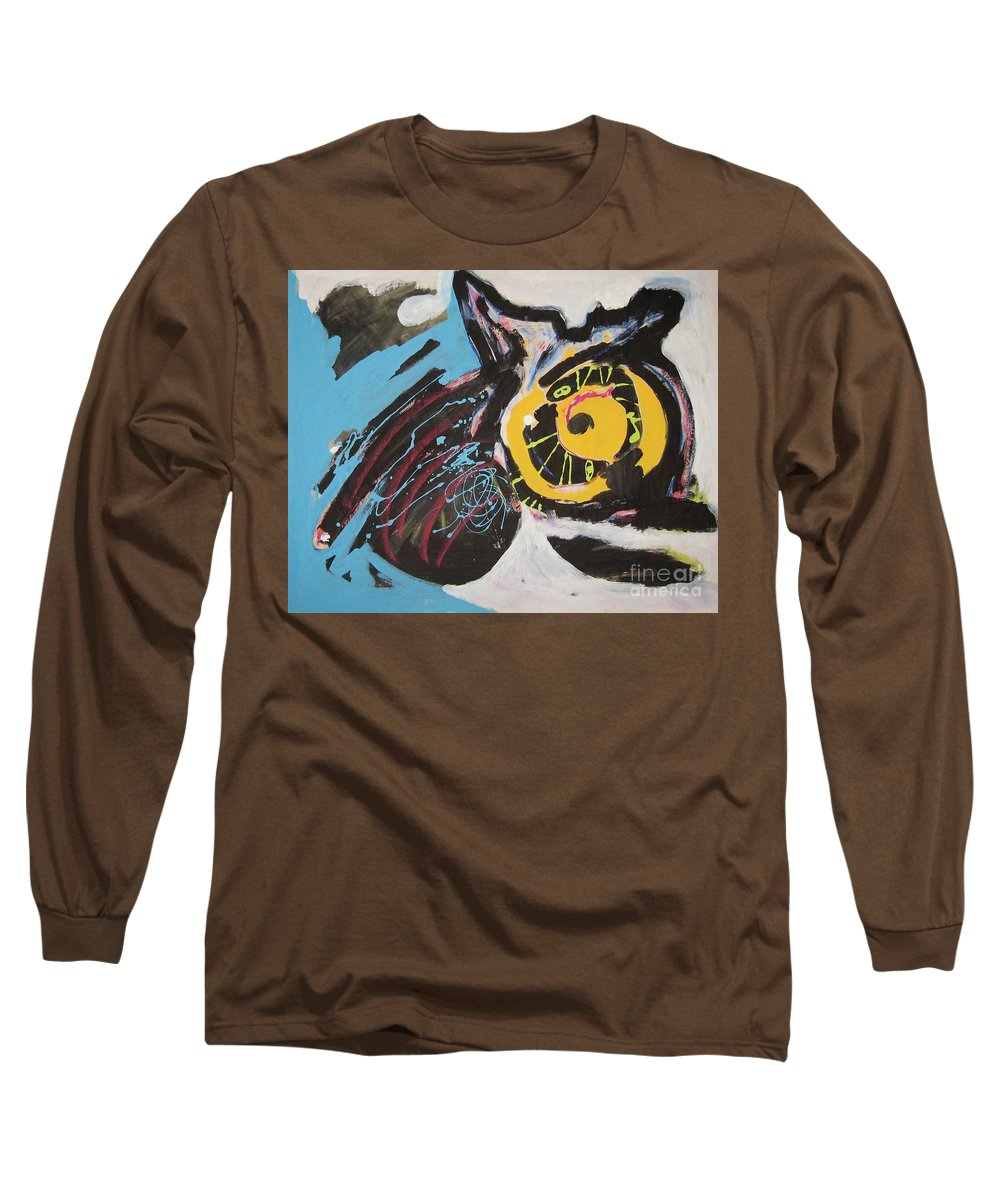 Abstract Cat Paintings Long Sleeve T-Shirt featuring the painting Being Lazy by Seon-Jeong Kim