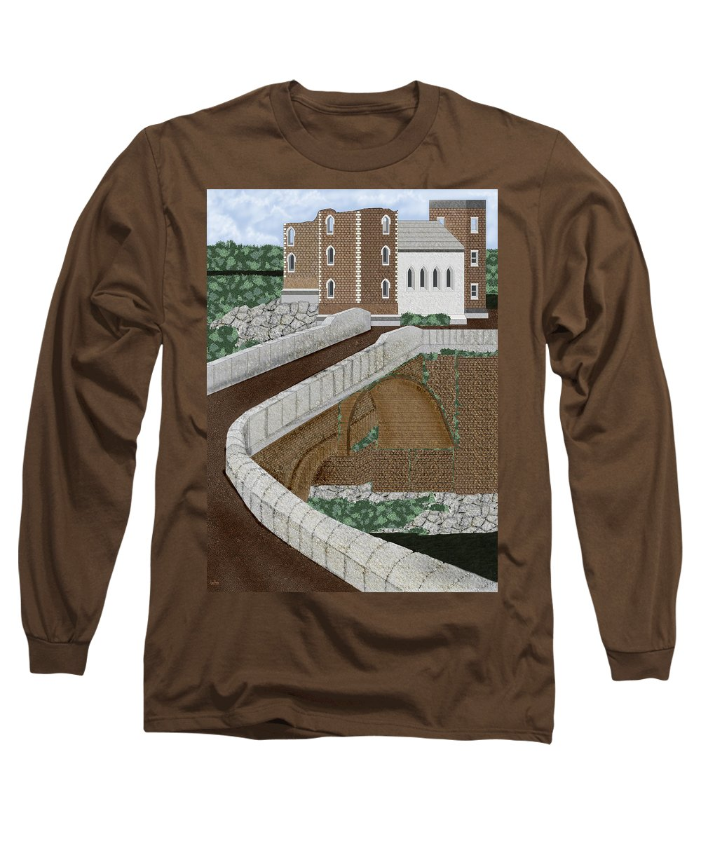 Castle Ruins Long Sleeve T-Shirt featuring the painting Beloved Ruins by Anne Norskog