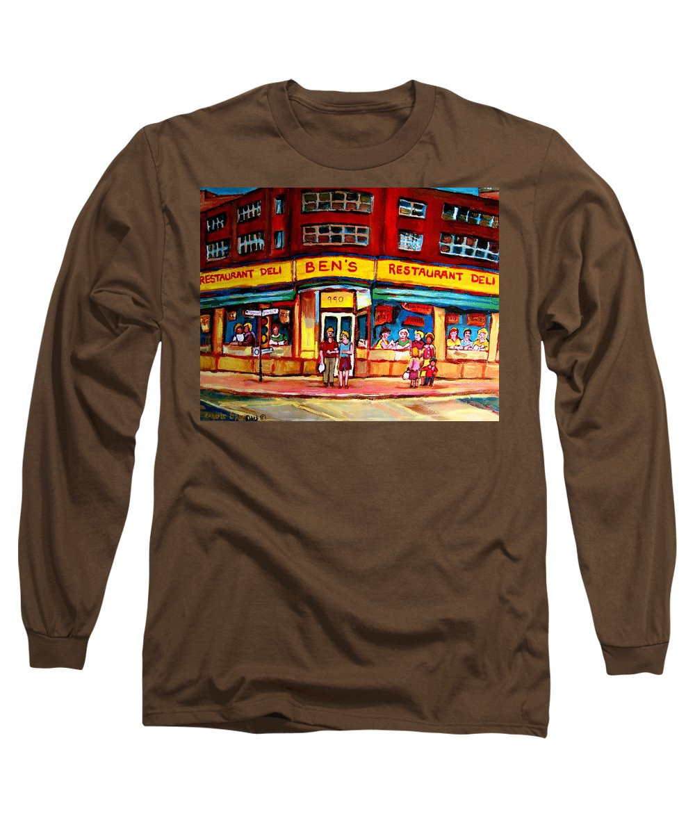 Bens Famous Restaurant Long Sleeve T-Shirt featuring the painting Ben's Delicatessen - Montreal Memories - Montreal Landmarks - Montreal City Scene - Paintings by Carole Spandau