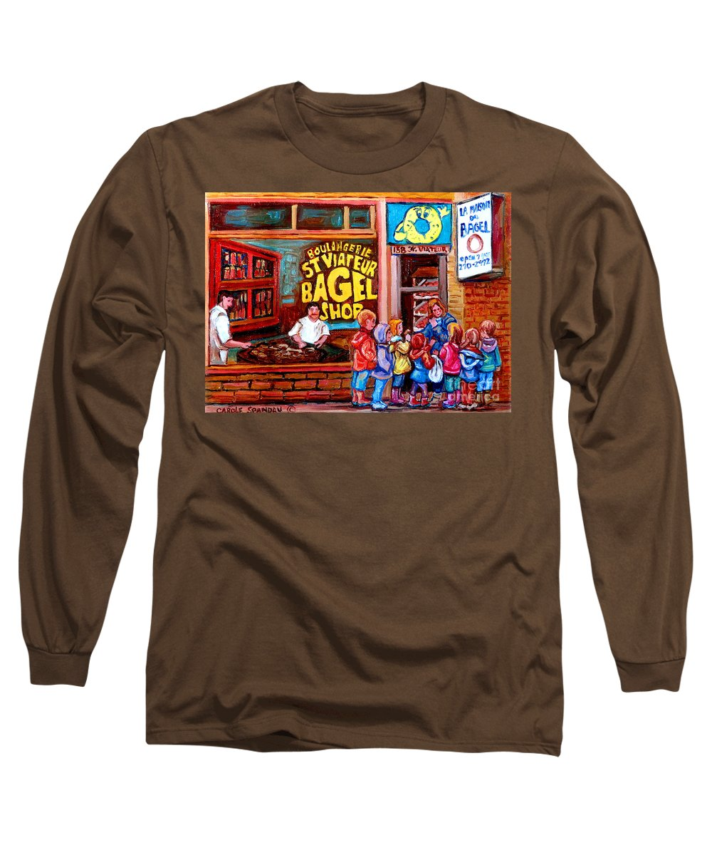 Children Long Sleeve T-Shirt featuring the painting Bet You Cant Eat Just One by Carole Spandau
