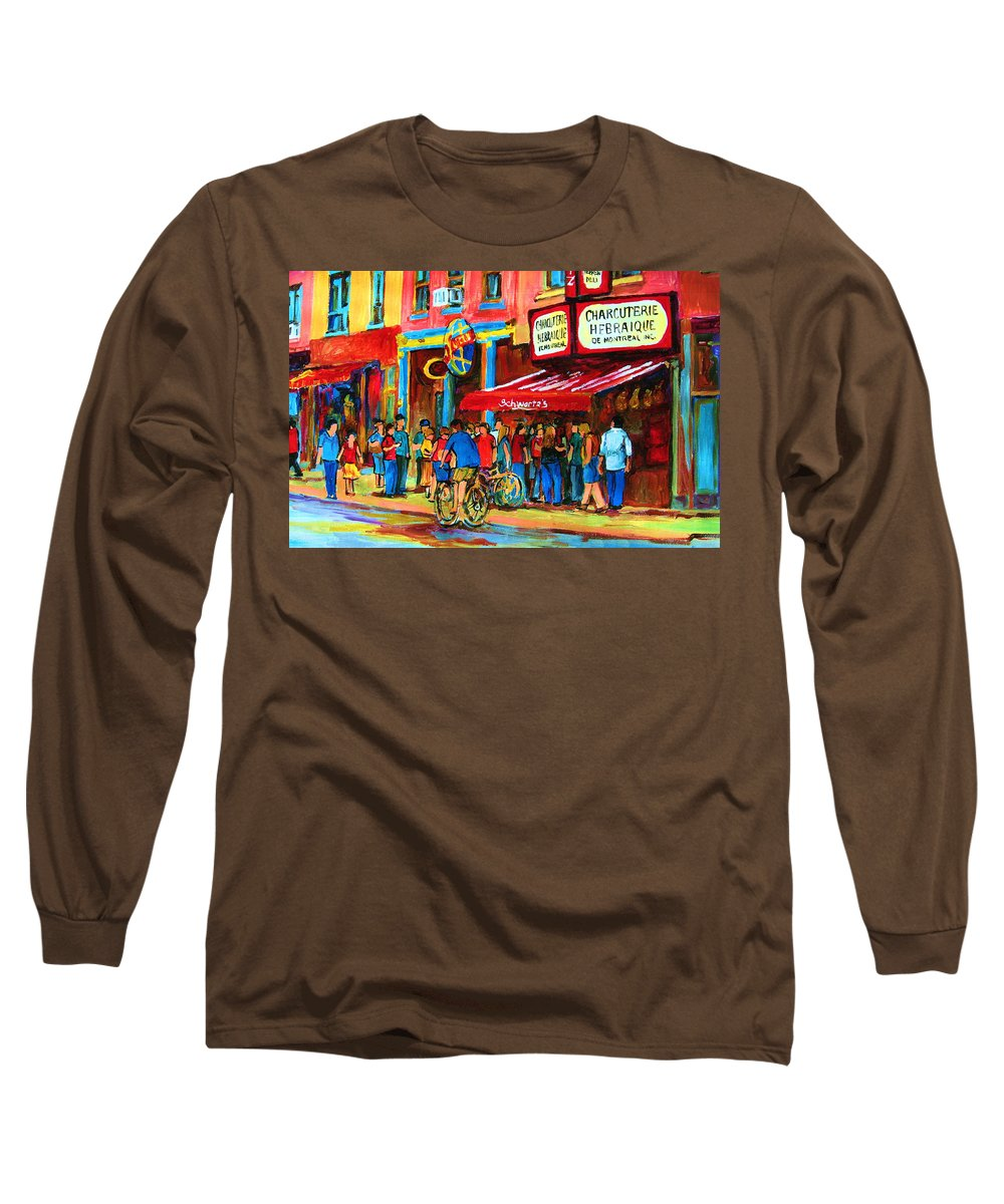 Schwartzs Smoked Meat Deli Long Sleeve T-Shirt featuring the painting Biking Past The Deli by Carole Spandau