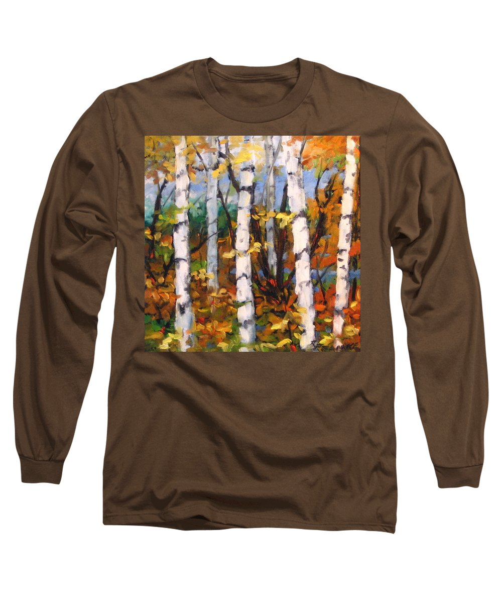 Art Long Sleeve T-Shirt featuring the painting Birches 03 by Richard T Pranke