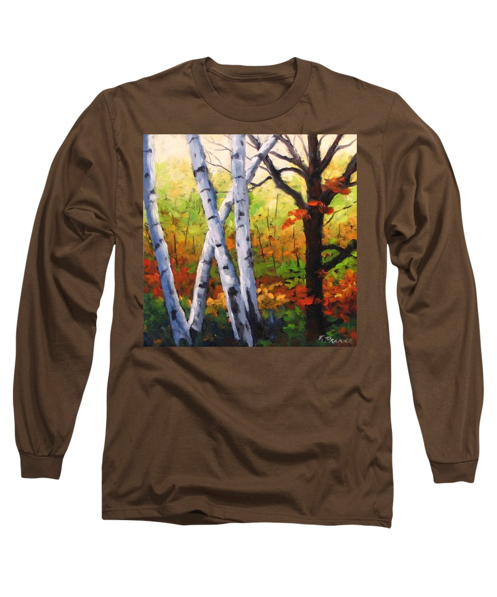 Art Long Sleeve T-Shirt featuring the painting Birches 05 by Richard T Pranke