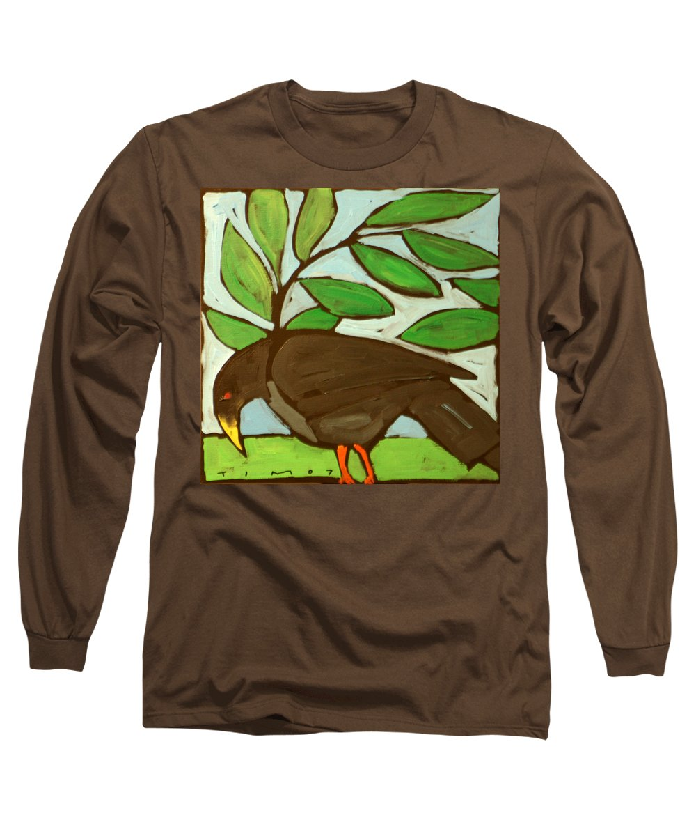 Bird Long Sleeve T-Shirt featuring the painting Blackbird by Tim Nyberg