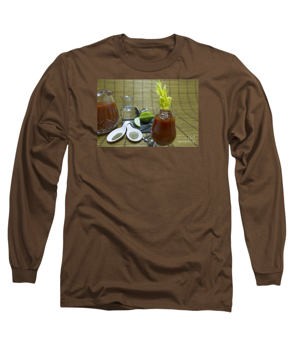 Alcohol Long Sleeve T-Shirt featuring the photograph Bloody Mary Cocktail With Ingredients by Karen Foley