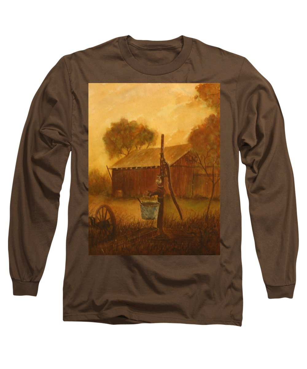 Barn; Bucket; Country Long Sleeve T-Shirt featuring the painting Blue Bucket by Ben Kiger