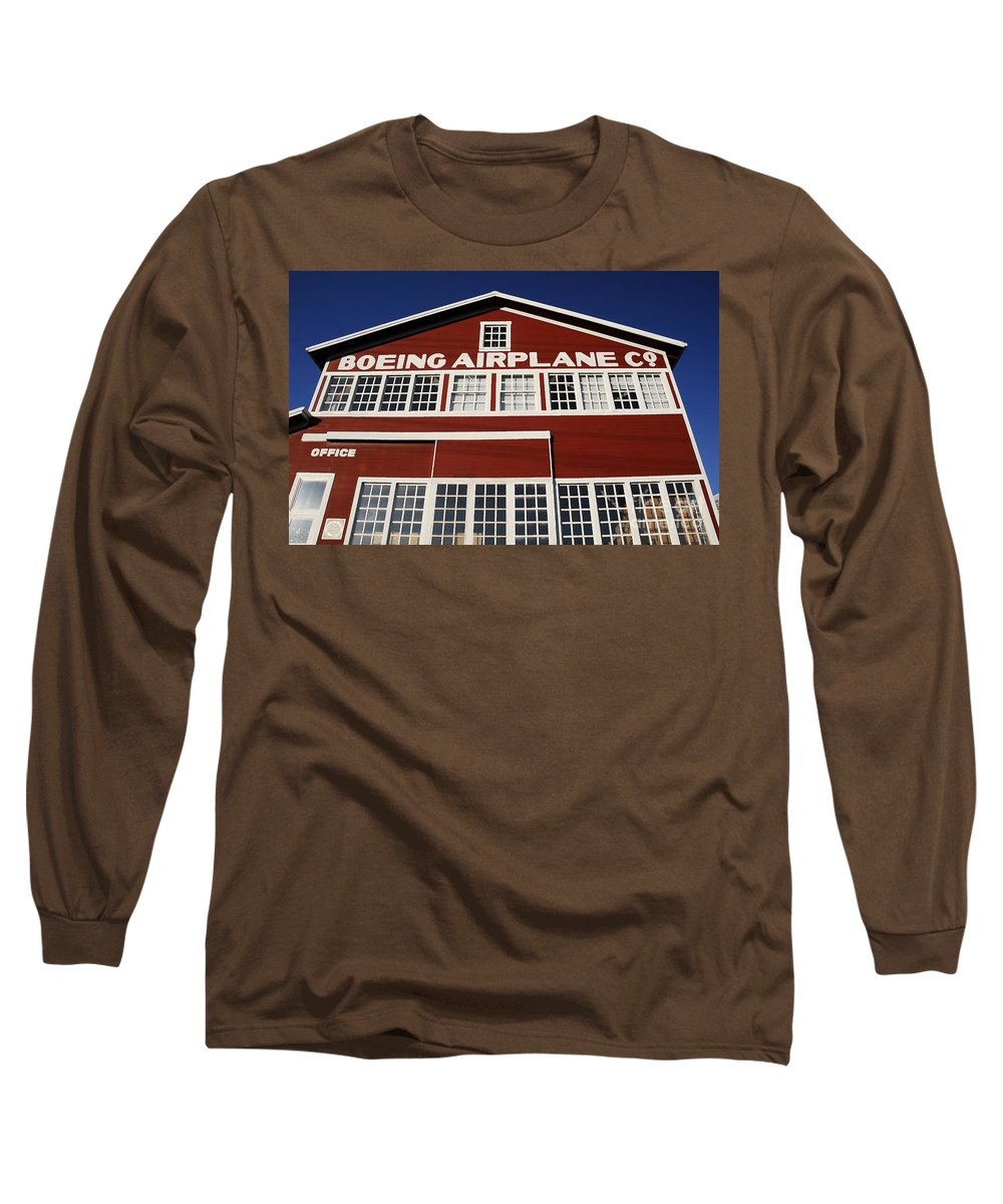 Boeing Long Sleeve T-Shirt featuring the photograph Boeing Airplane Hanger Number One by David Lee Thompson
