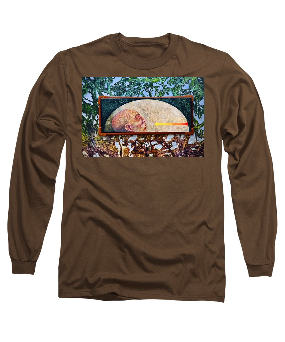 Surrealism Fantasy Fantastic Realism Decalcomania Otto Rapp The Mystic Long Sleeve T-Shirt featuring the painting Bogomil Rising by Otto Rapp