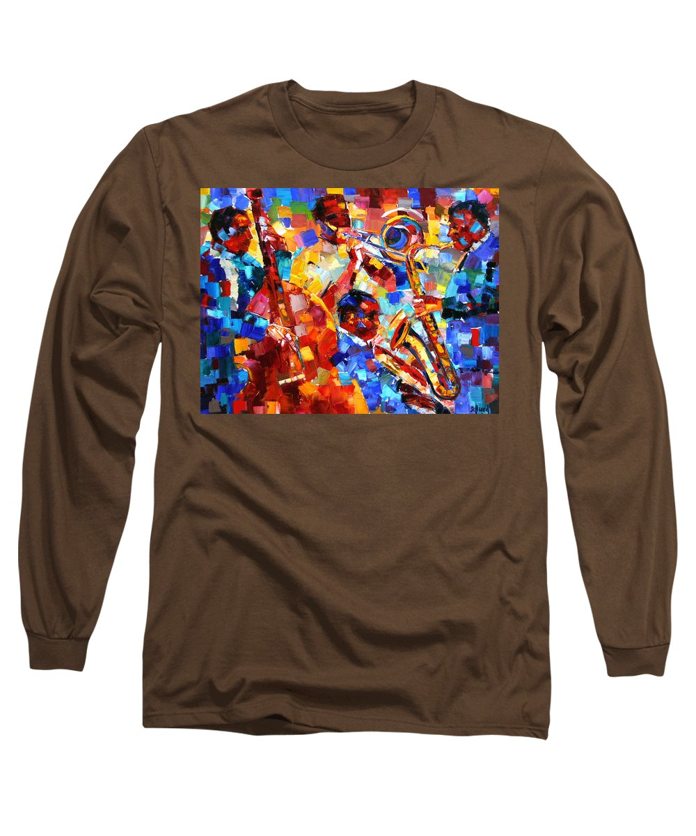 Jazz Long Sleeve T-Shirt featuring the painting Bold Jazz Quartet by Debra Hurd