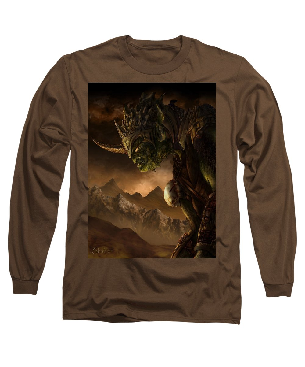 Goblin Long Sleeve T-Shirt featuring the mixed media Bolg The Goblin King by Curtiss Shaffer