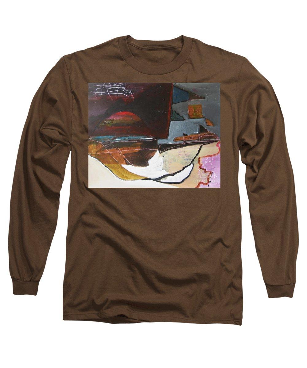 Abstract Atlantic Newfoundland Landscape Seascape Ocean Acrylic Paper Dusk Bonavista Canvas Long Sleeve T-Shirt featuring the painting Bonavista At Dusk by Seon-Jeong Kim