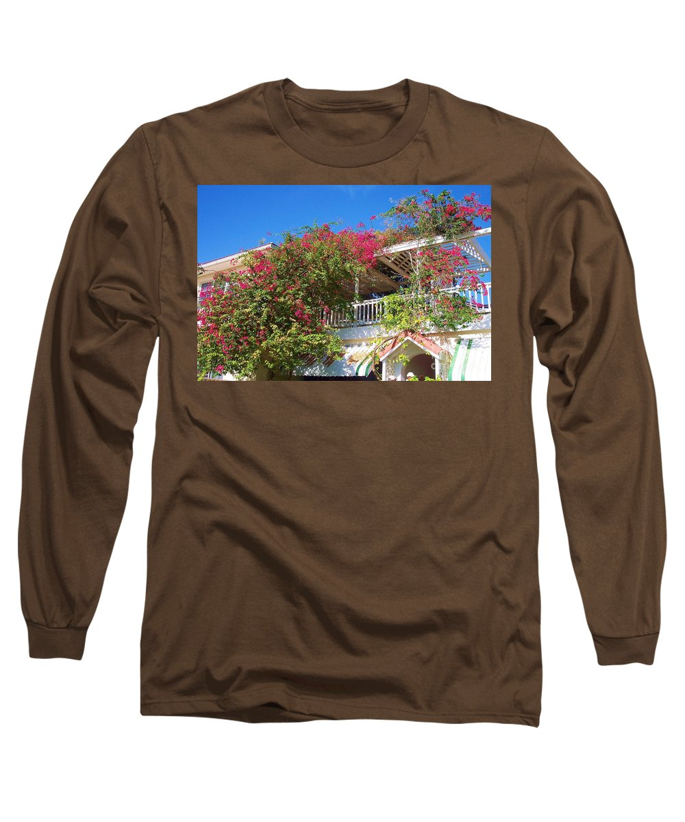 Flowers Long Sleeve T-Shirt featuring the photograph Bougainvillea Villa by Debbi Granruth