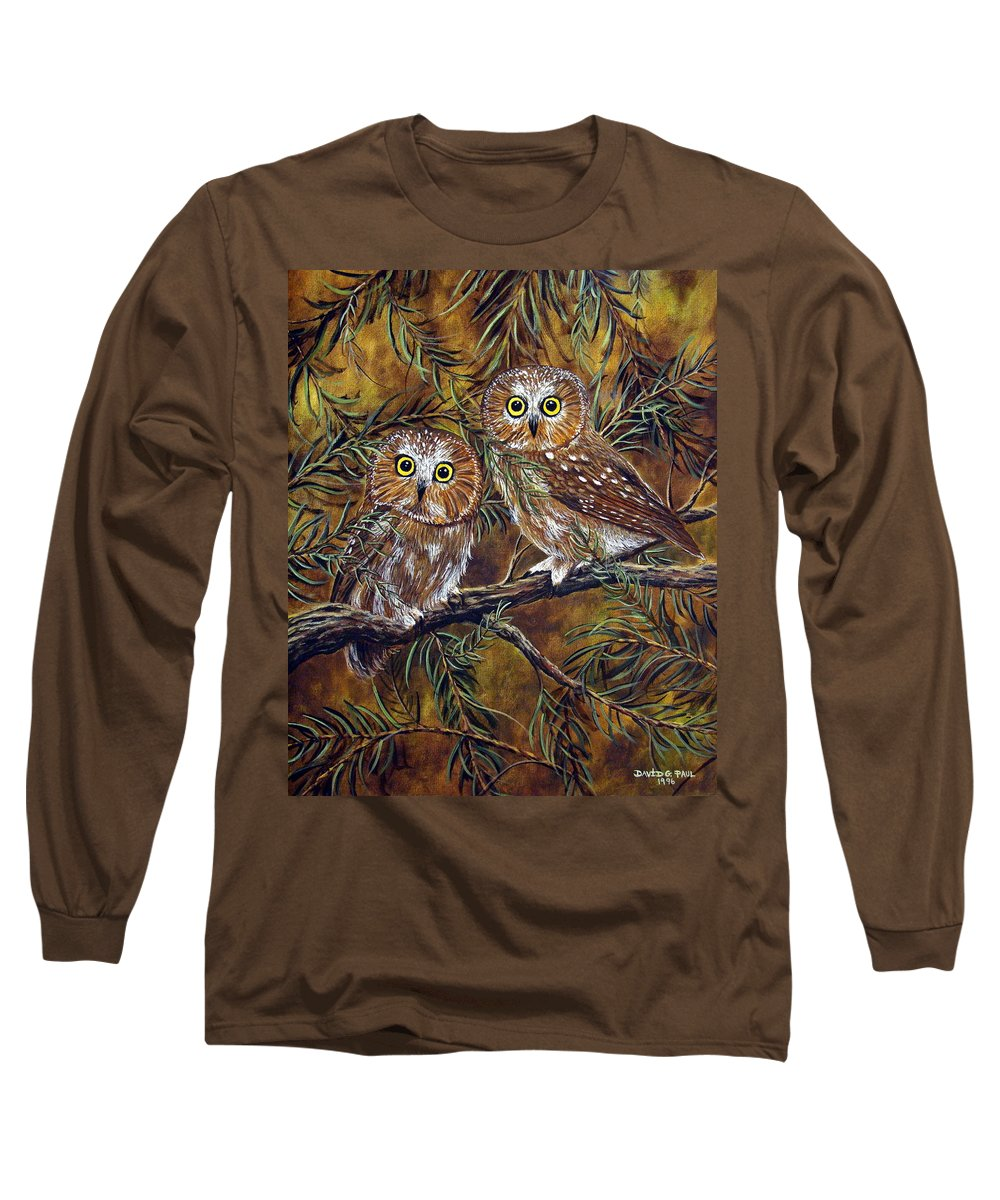Owls Long Sleeve T-Shirt featuring the painting Branch Buddies by David G Paul