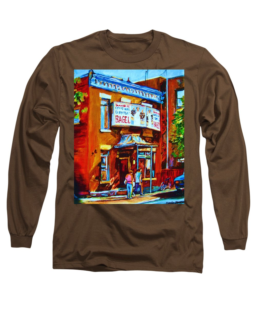 Fairmount Bagel Long Sleeve T-Shirt featuring the painting Breakfast At The Bagel Cafe by Carole Spandau