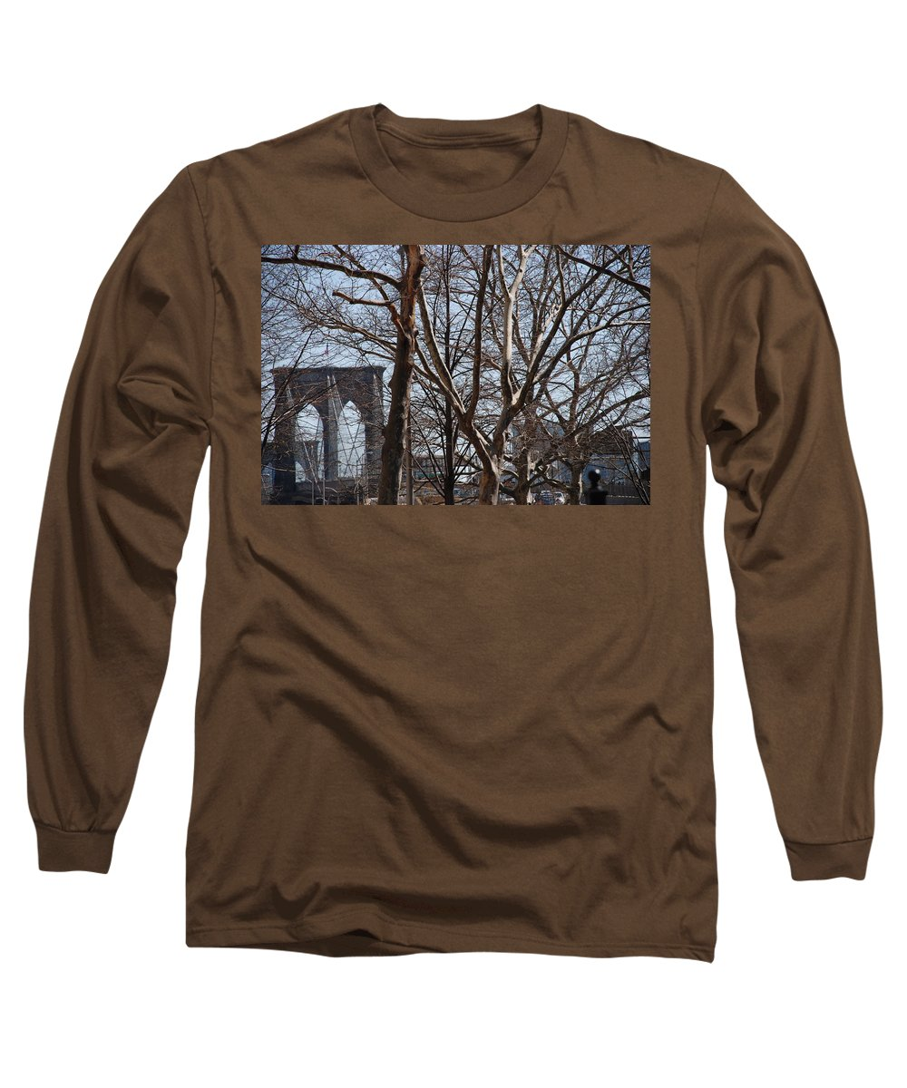 Architecture Long Sleeve T-Shirt featuring the photograph Brooklyn Bridge Thru The Trees by Rob Hans