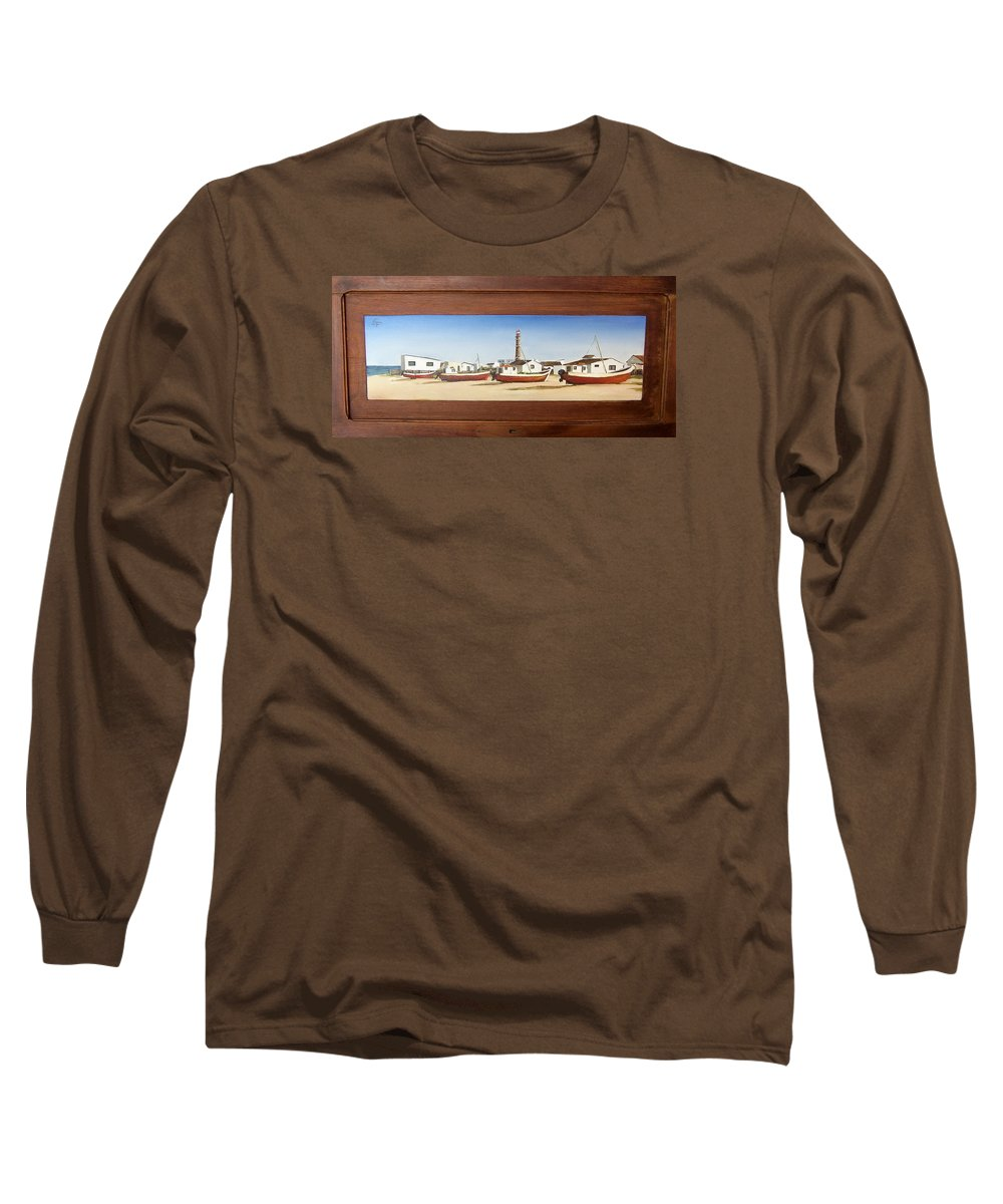Landscape Seascape Uruguay Beach Boats Sea Lighthouse Long Sleeve T-Shirt featuring the painting Cabo Polonio 2 by Natalia Tejera