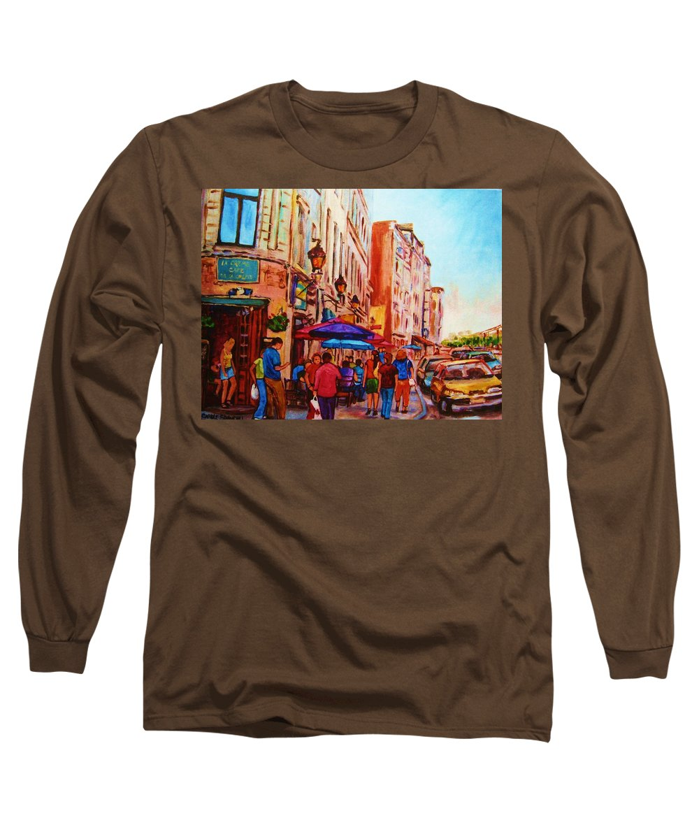 Montreal Long Sleeve T-Shirt featuring the painting Cafe Creme by Carole Spandau