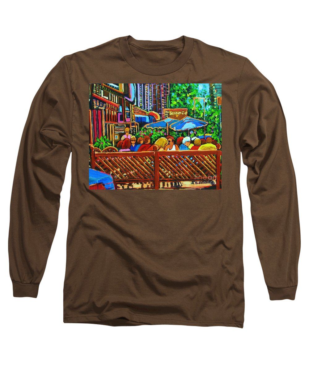 Cafes Long Sleeve T-Shirt featuring the painting Cafe Second Cup by Carole Spandau